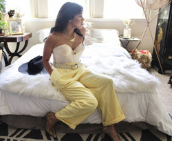 Mellow Yellow- Tapered Pleated Trousers