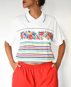 Vintage white summer polo