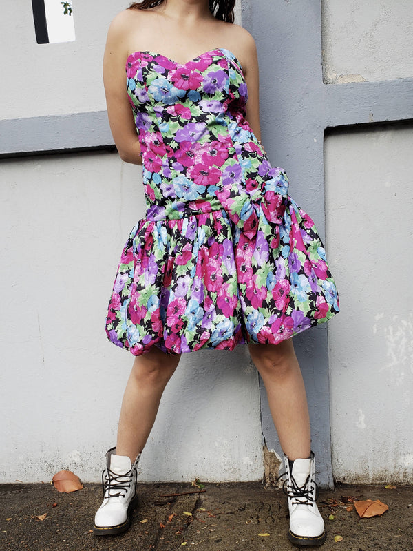 80s Vibrant Flowery Puff Dress