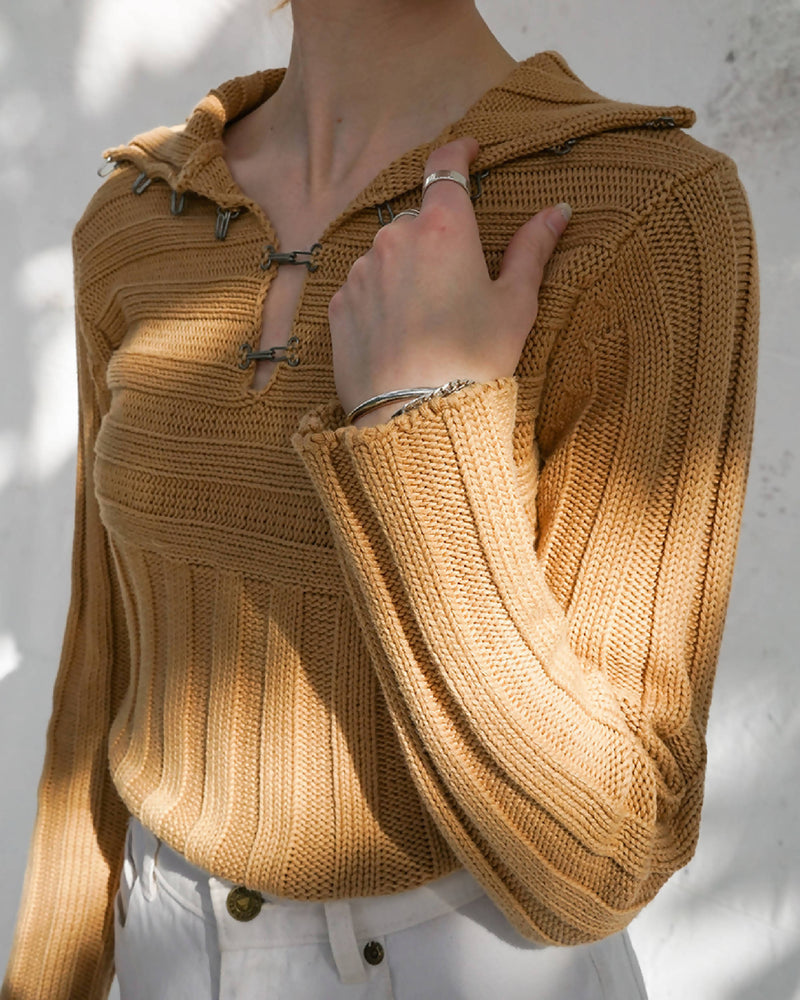 Vintage Sweater with Hook & Eye Closures