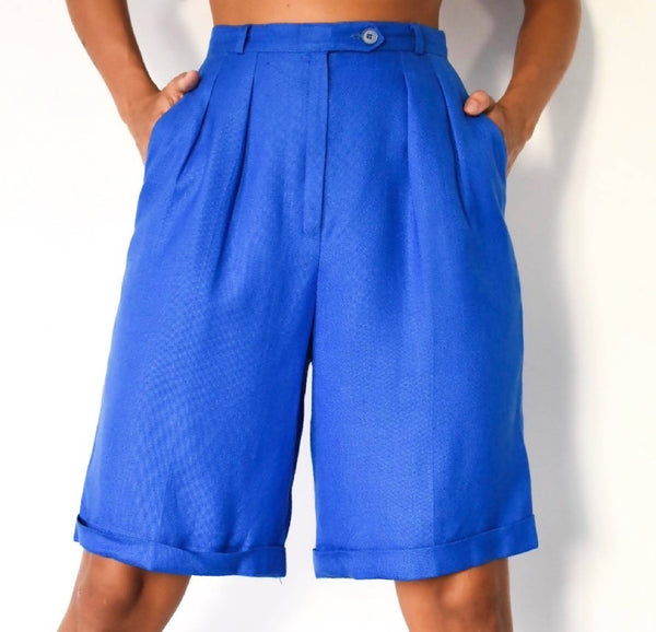 1980's linen high waisted vibrant blue shorts