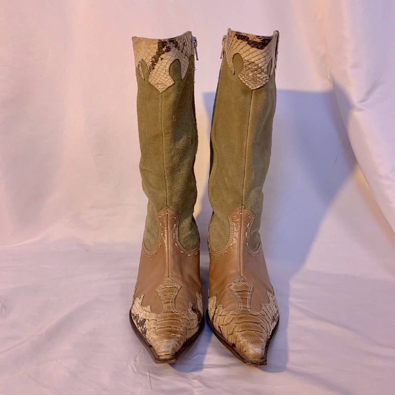 Snakeskin + suede cowboy boots
