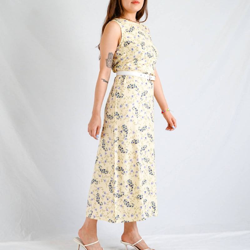 Pale Yellow Floral Dress
