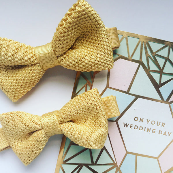 Golden Yellow Knitted bow tie for children and adults
