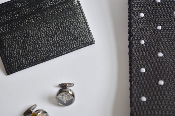 Mens Gift Set - Grey and polka dot knitted tie with cuff links