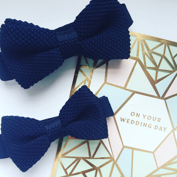 Navy blue knitted bow tie for children and adults