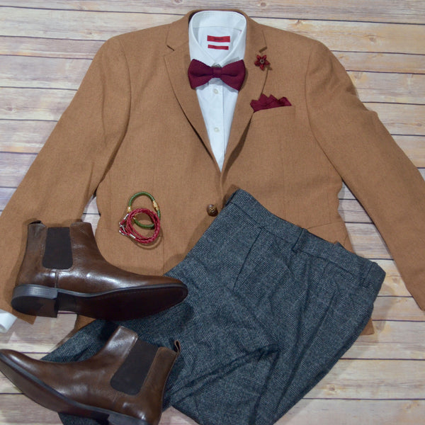 Style Ideas for Men this winter camel jacket and bow tie
