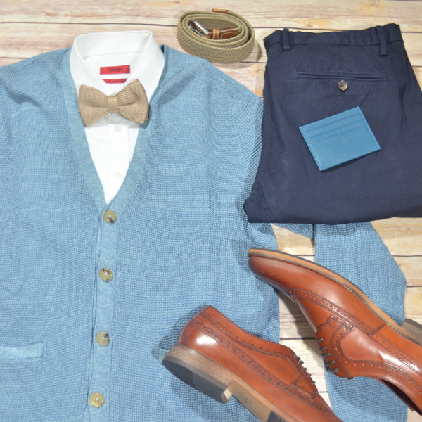 Style Ideas for Men this winter cardigan and bow tie