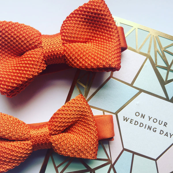 Orange knitted bow ties for adult and children