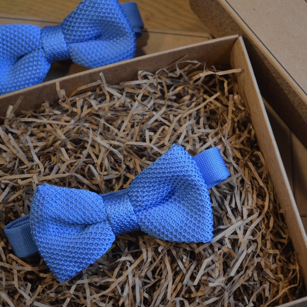 Baby Blue Knitted Wedding Bow Tie
