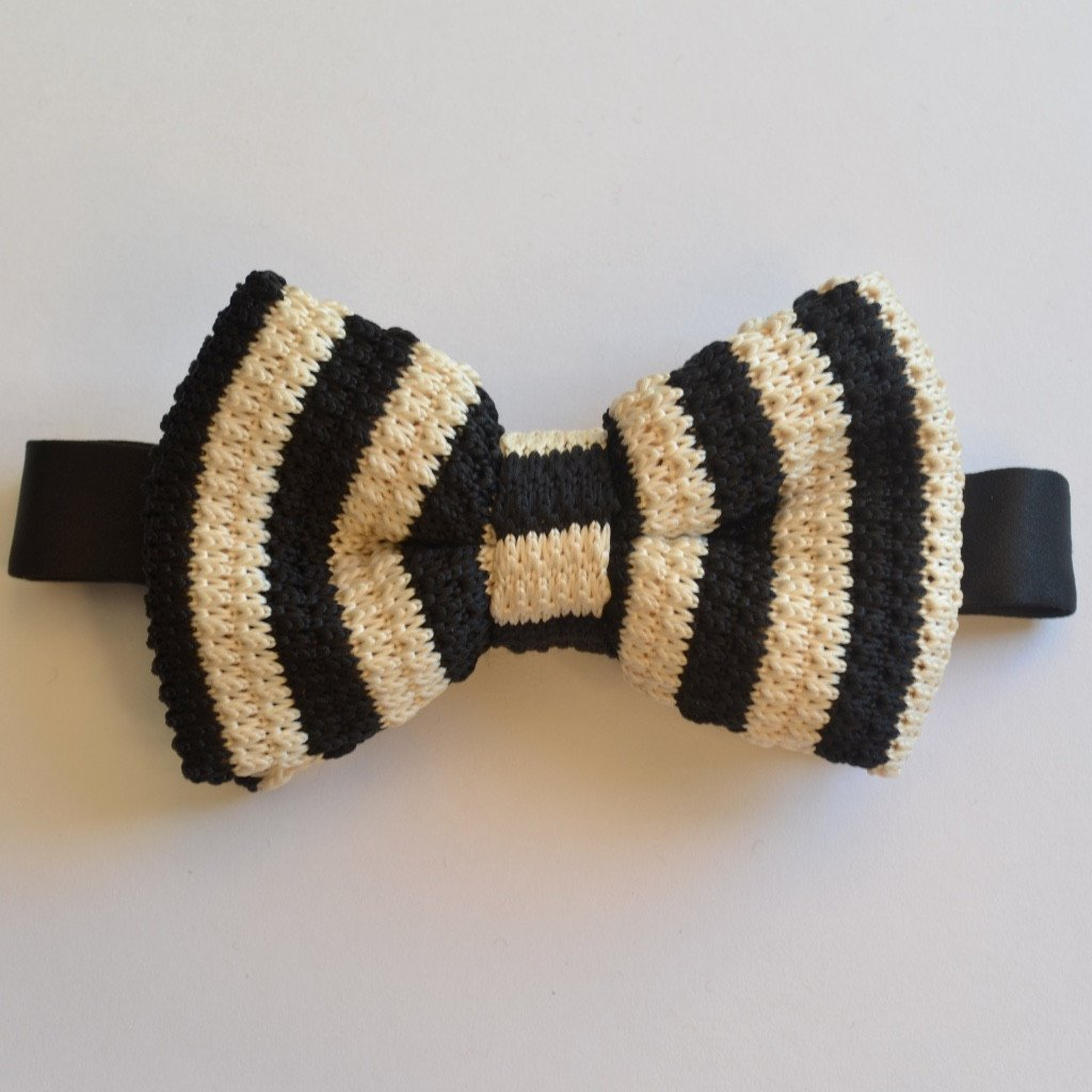 Black and Cream Stripe Knitted Bow Tie