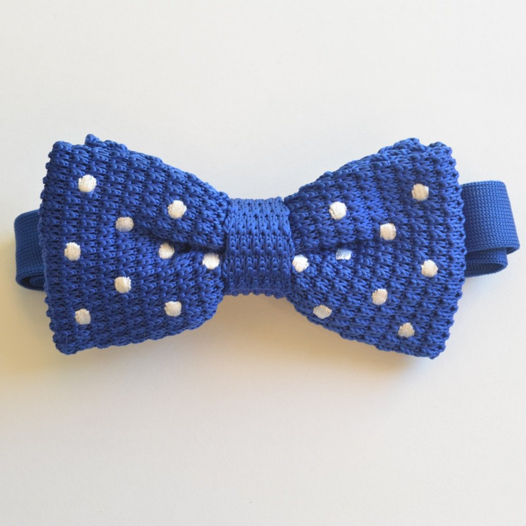 Blue and White Polka Dot Knitted Bow Tie