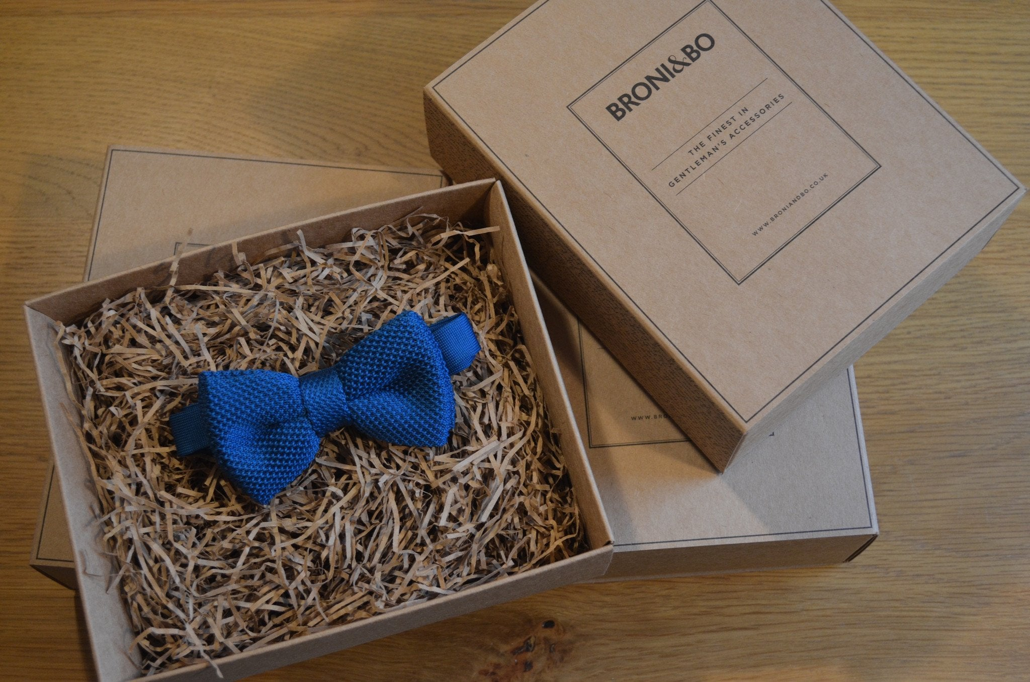 Blue Knitted Wedding Bow Tie