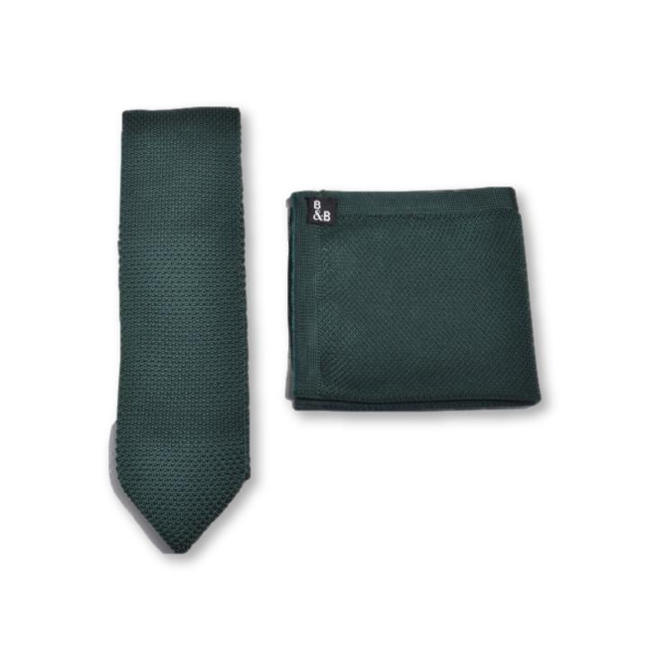 Green Knitted Tie and Knitted Pocket Square Set