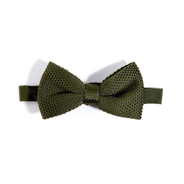 Mens Moss Green Knitted Bow Tie