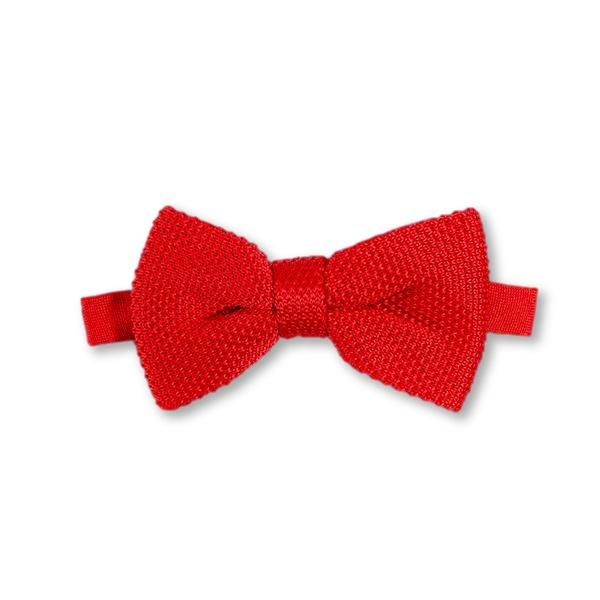 Pillar box red knitted bow tie