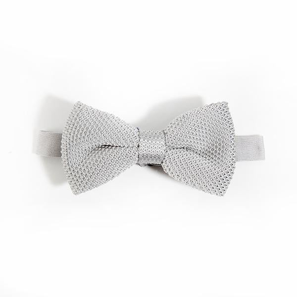 Silver Knitted Bow Tie - Wedding