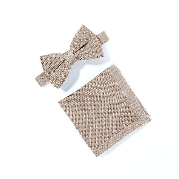 Champagne knitted bow tie and pocket square set