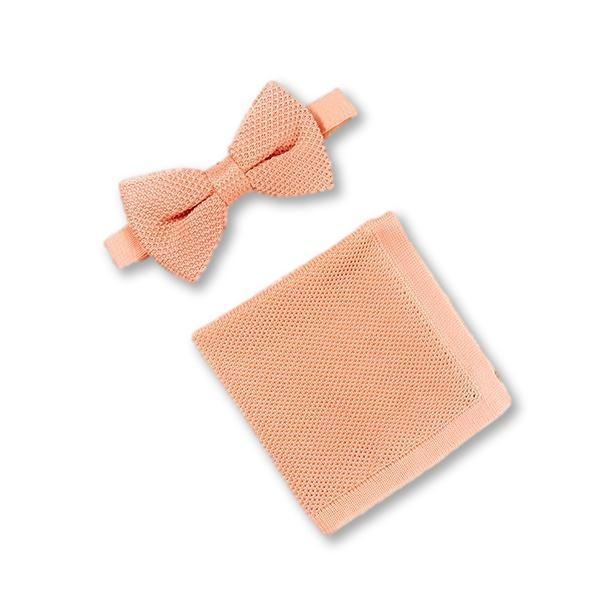 Coral Fusion Knitted Bow Tie and Knitted Pocket Square Set