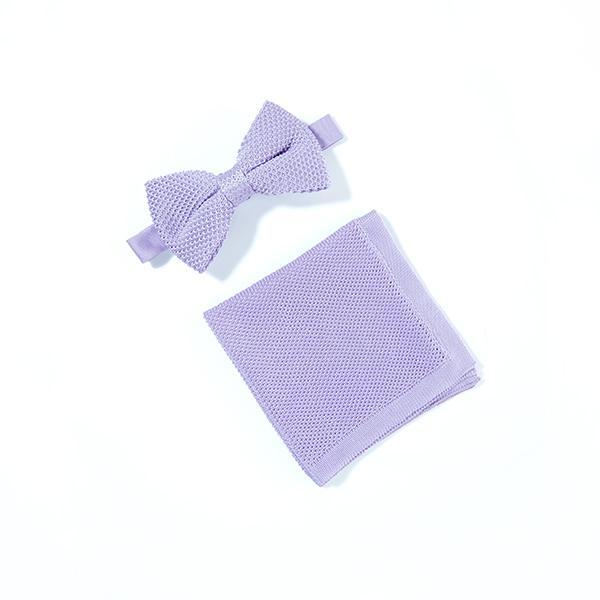 Lavender knitted bow tie and pocket square set