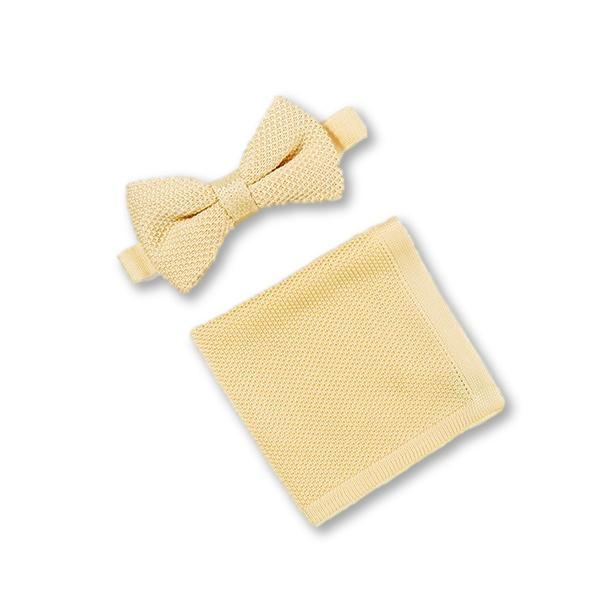 Mellow yellow knitted bow tie and pocket square set