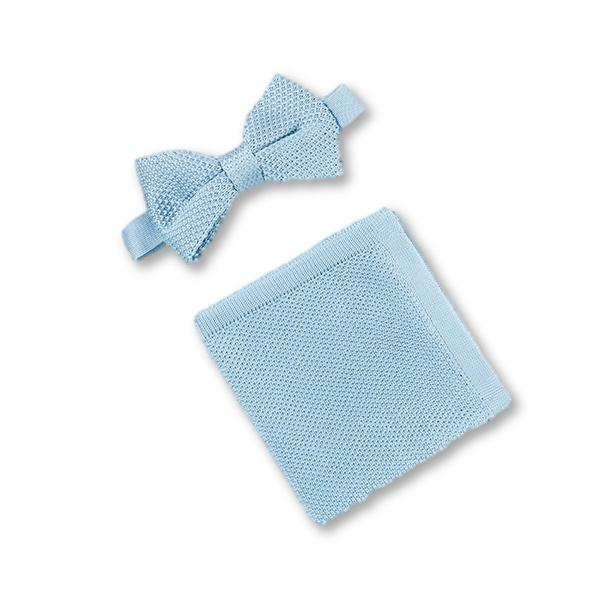 Mens Misty blue knitted bow tie and matching pocket square