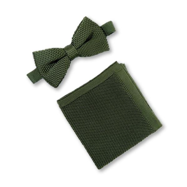 Moss green knitted bow tie and pocket square set