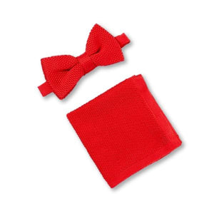Pillar Box Red Knitted Bow Tie and Knitted Pocket Square Set
