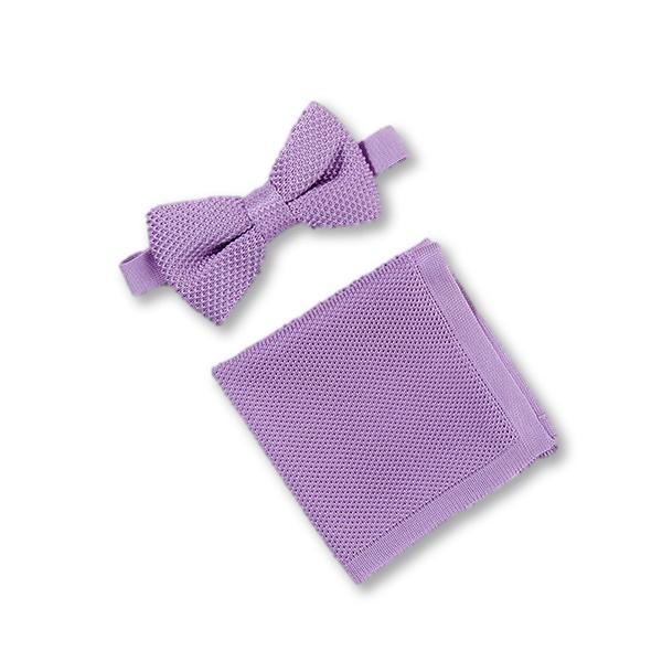 Purple knitted bow tie and pocket square set