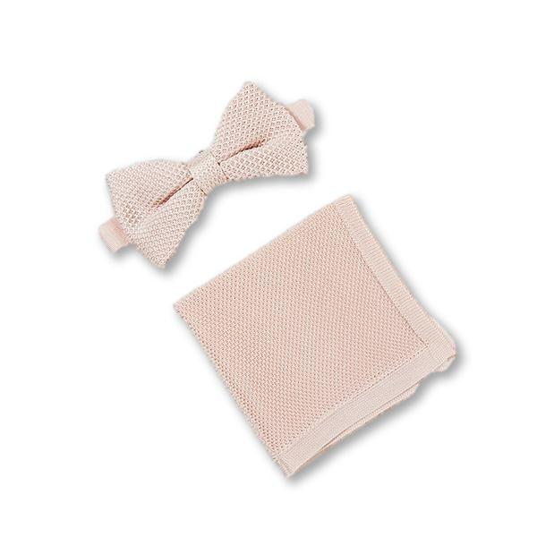 Rose quartz knitted bow tie and pocket square set