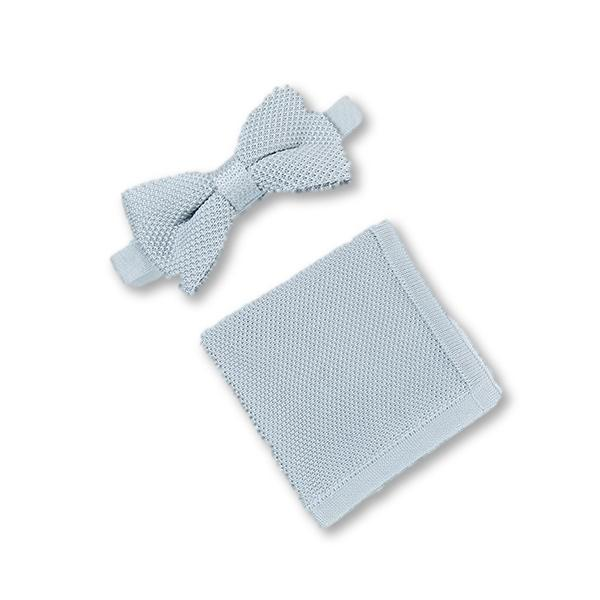 Silver knitted bow tie and pocket square set