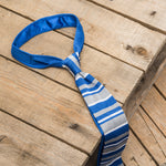 Blue, Grey and White Striped Knitted Silk Tie