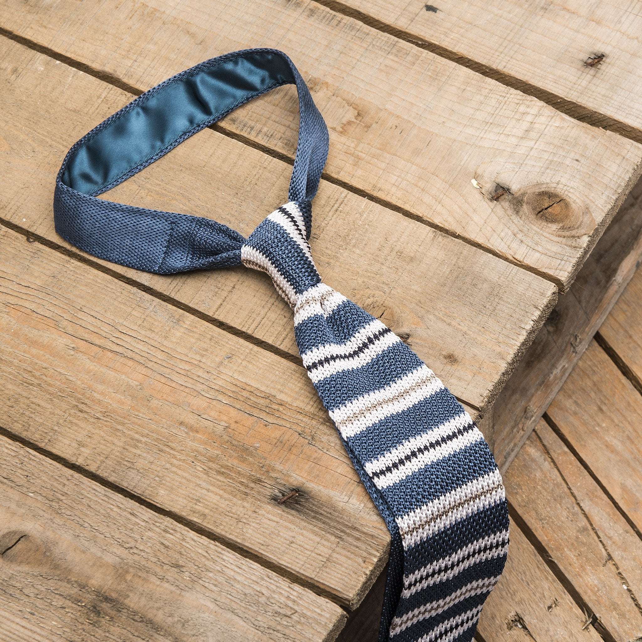 Blue and White Striped Knitted Tie