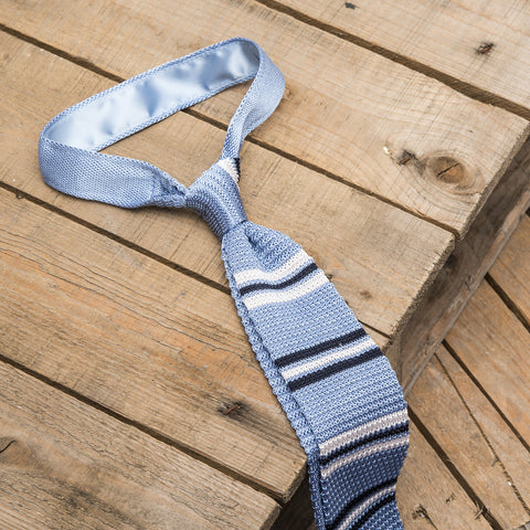 Blue and White Stripe Knitted Silk Tie