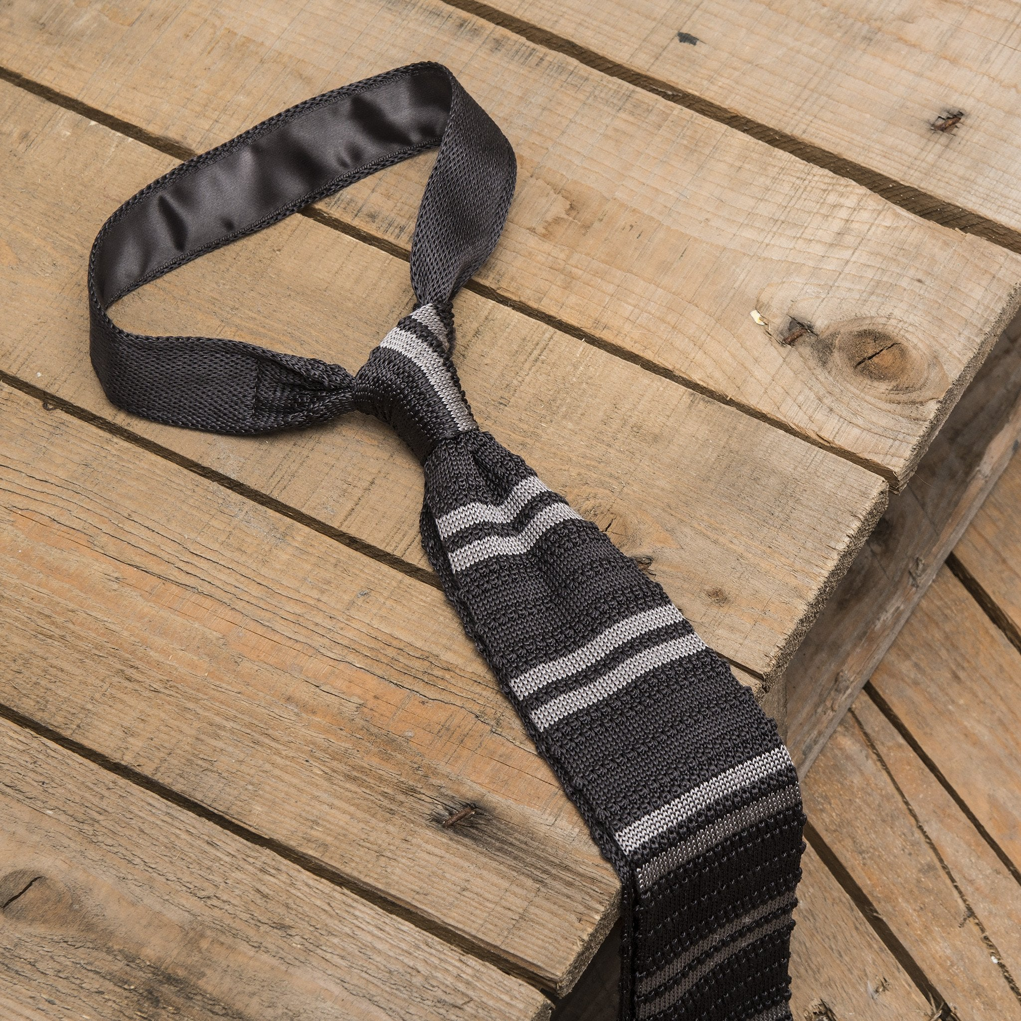 Grey Knitted Striped Silk Tie
