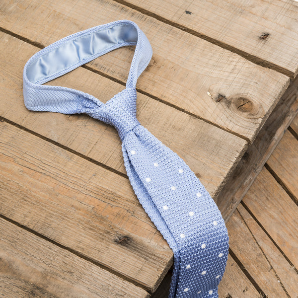 Blue and White Spotted Knitted Tie