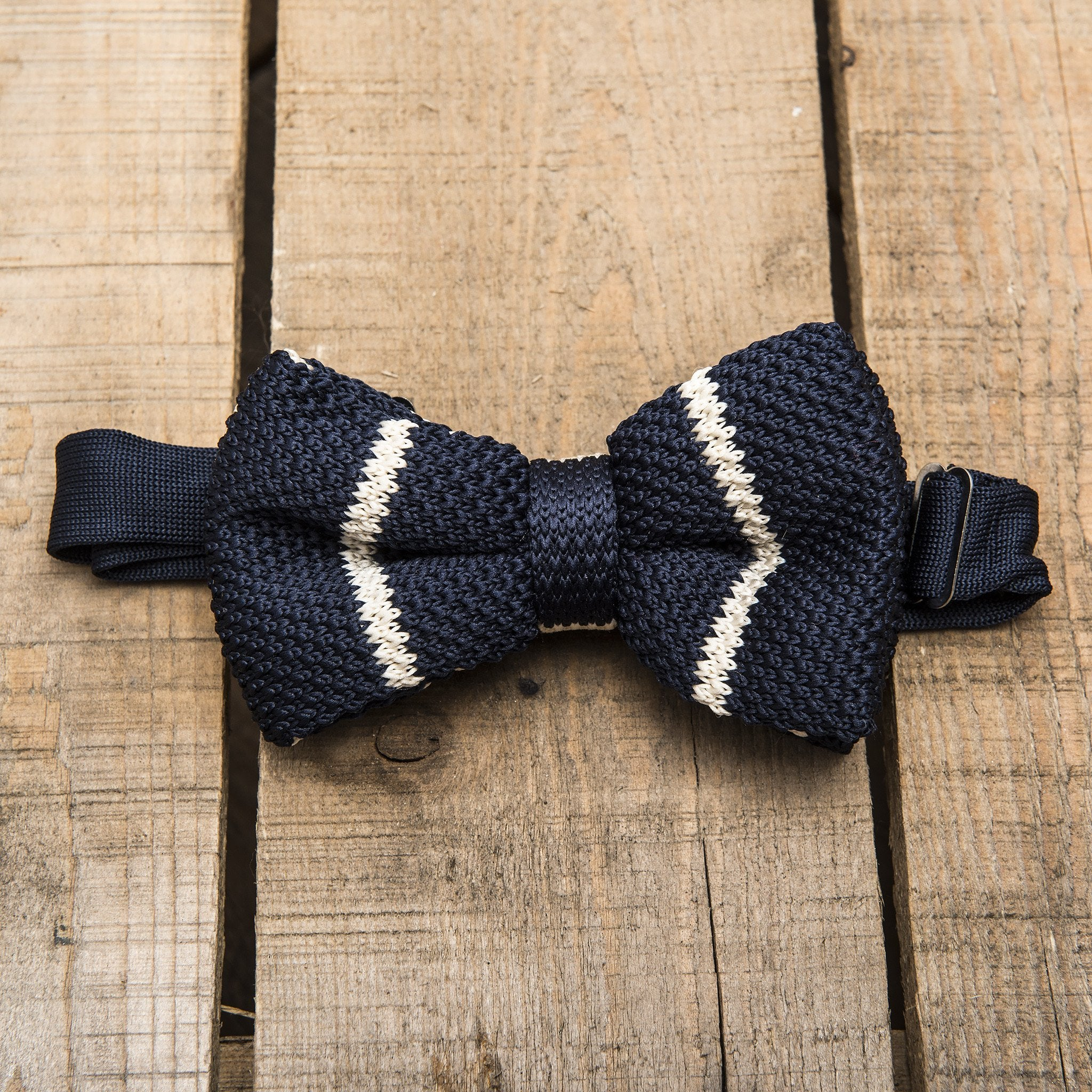 Blue with White Stripe Bow Tie