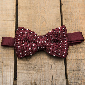 Burgundy and White Detailed Knit Bow tie