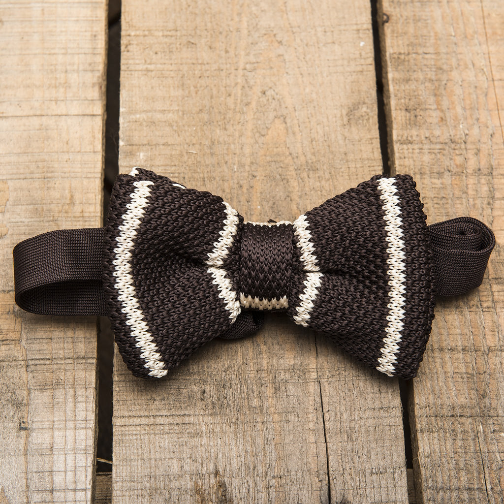 Brown and Cream Striped Bow Tie