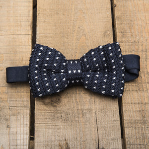 Blue and White Detailed Bow Tie