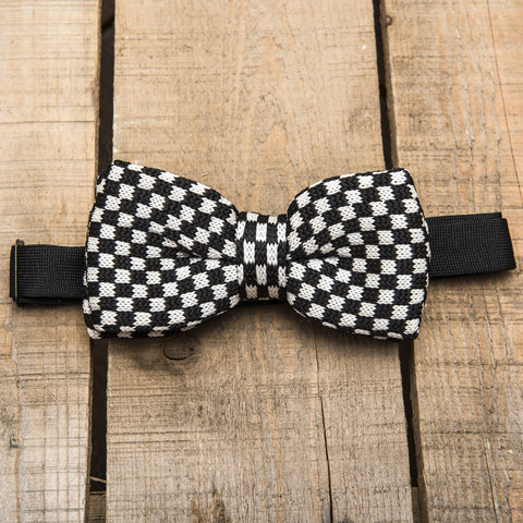 Black and White Chequered Bow Tie