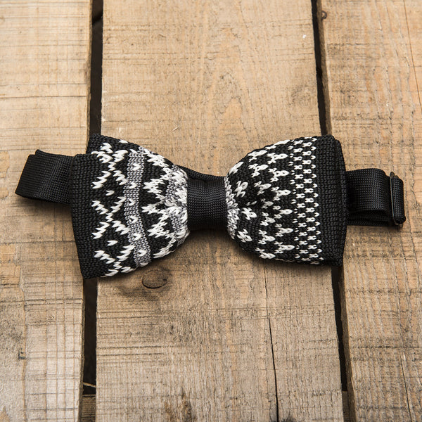 Black and White Patterned Bow Tie