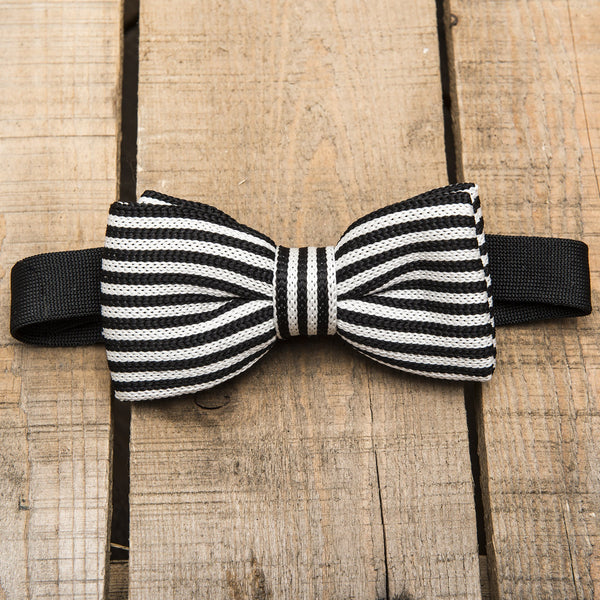 Black and White Striped Tuxedo Bow Tie