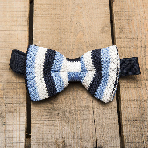 Blue and White Stripe Knitted Bow Tie