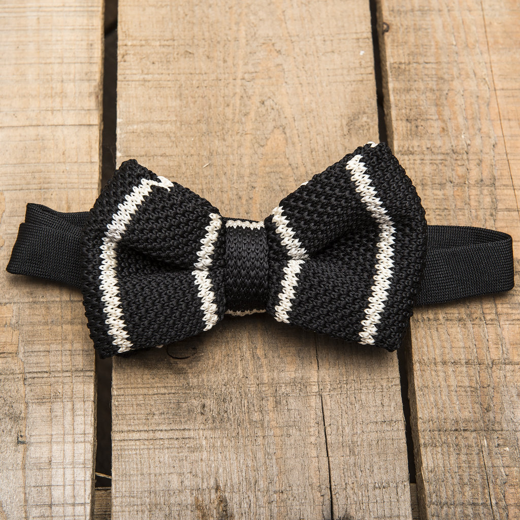 Black and White Stripe Knitted Bow Tie