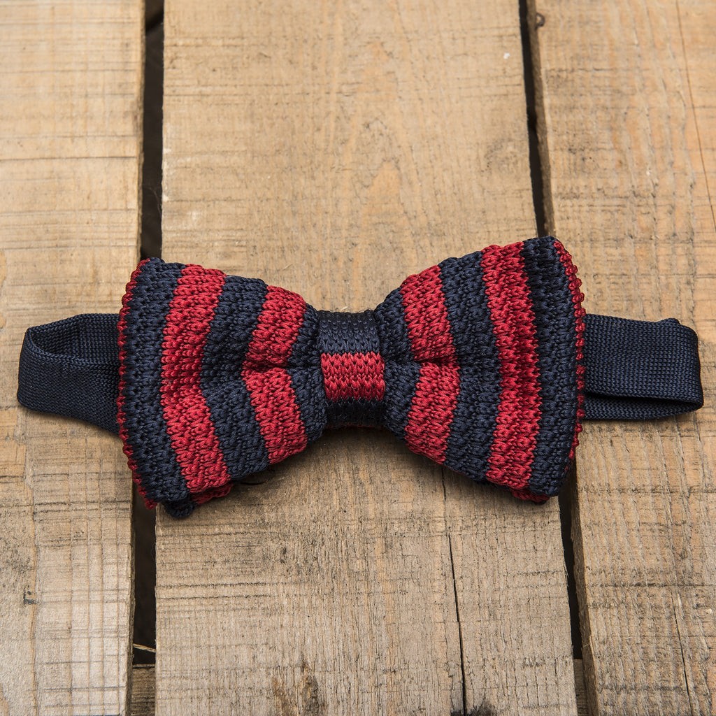 Blue and Red Stripe Knitted Bow Tie
