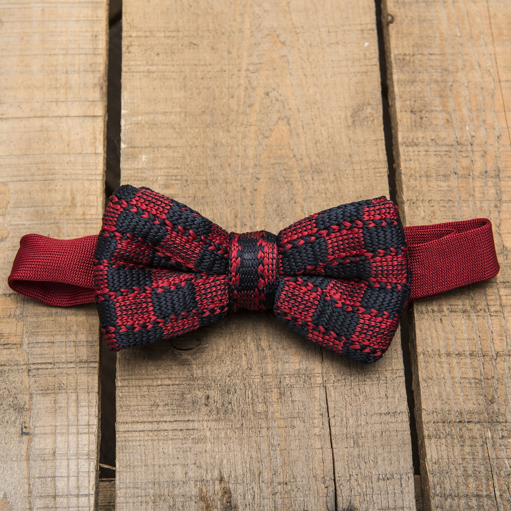 Blue and Red Chequered Bow Tie
