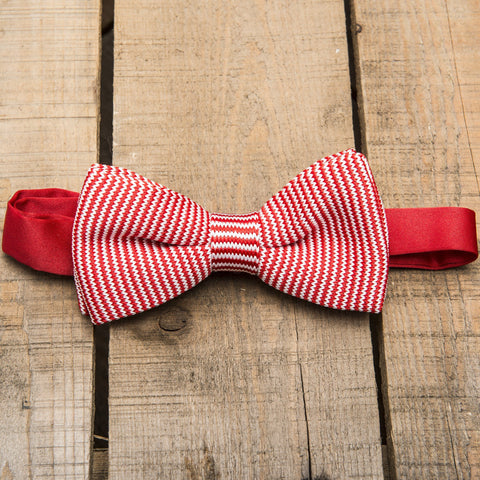 Red and White Striped Bow Tie
