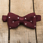 Burgundy and White Spotted Bow Tie