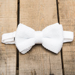White Knitted Bow Tie